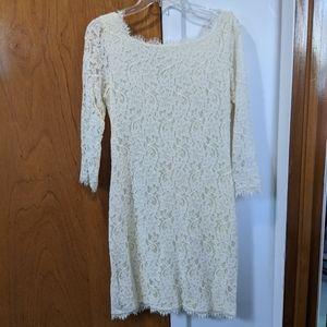 Diane Von Furstenberg Long Sleeve lace white dress